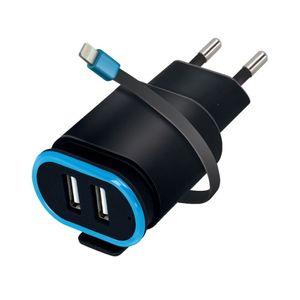 Forever TC-02 USBx2 Laturi Lightning -kaapelilla, 2,4A