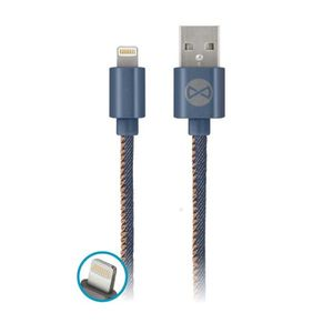 Forever Jeans USB Lightning lataus ja synkronointikaapeli 2A, sininen