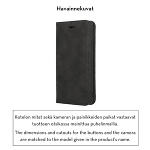 Forever Gamma lompakkomallinen suojakotelo aitoa nahkaa irrotettavalla sisäkotelolla iPhone X / iPhone Xs - musta