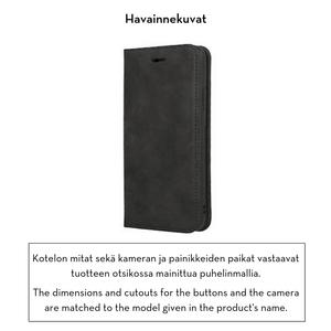 Forever Gamma lompakkomallinen suojakotelo aitoa nahkaa irrotettavalla sisäkotelolla iPhone XR - musta
