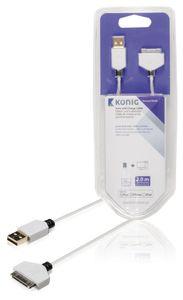 Synkronointi- ja latauskaapeli, 30-nastainen telakkaliitin, uros – USB 2.0 A -urosliitin, 2,00 m, valkoinen