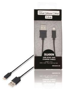 USB-kaapeli synkronointiin ja lataukseen, USB A -urosliitin – 8-nastainen Lightning-urosliitin, 1,00 m, musta