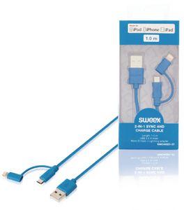 2-in-1-synkronointi- ja latauskaapeli, USB 2.0 A -urosliitin – Micro B -urosliitin, Lightning-sovitin liitettynä, 1,00 m, sininen