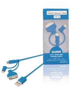3-in-1-synkronointi- ja latauskaapeli, USB 2.0 A -urosliitin – Micro B -urosliitin, Lightning-sovitin ja 30-nastainen telakkasovitin liitettynä, 1,00 m, sininen