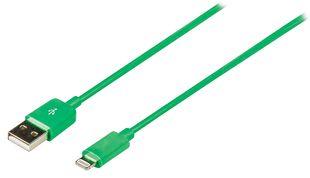 Synkronointi- ja latauskaapeli Lightning uros - USB A uros 1,00 m vihreä