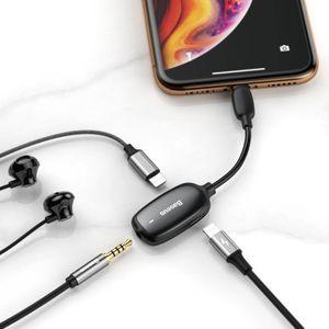 Baseus adapteri Lightning  - 2 x Lightning / kuulokeliitin 3,5mm - Musta