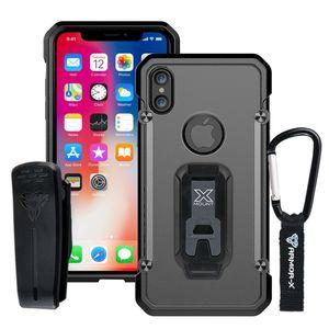 Armor-X BT Iskunkestävä X-Mount Suojakotelo iPhone X - läpinäkyvä / harmaa