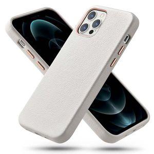 ESR Metro Premium Nahkakuori iPhone 12 / 12 Pro - Aito valkoinen nahka