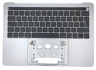 """Apple Macbook Pro 13"""" Touchbar A1706 Top Case - Näppäimistökansi Suomi - Harmaa"""