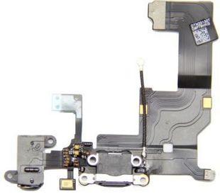 iPhone 5 Latausportti flex-kaapeli + kuulokeliitäntä + mikrofoni - Musta