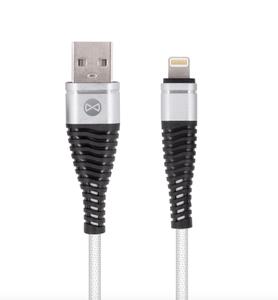 Forever Shark Lightning USB-kaapeli 1m, valkoinen