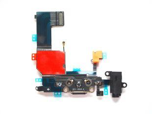 iPhone 5C Latausportti flex-kaapeli + kuulokeliitäntä + mikrofoni - Musta