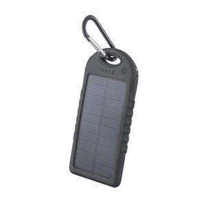 Setty Aurinkokenno Power Bank vara-akku taskulampulla - 5000 mAh - Musta