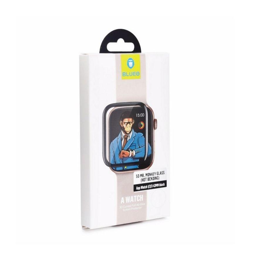 5D Mr. Monkey Iskunkestävä 9H Panssarilasi Apple Watch 1/2/3 38mm, musta