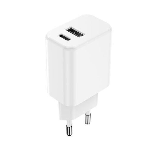 Setty USB-A + USB-C laturi 3A 20W - Valkoinen