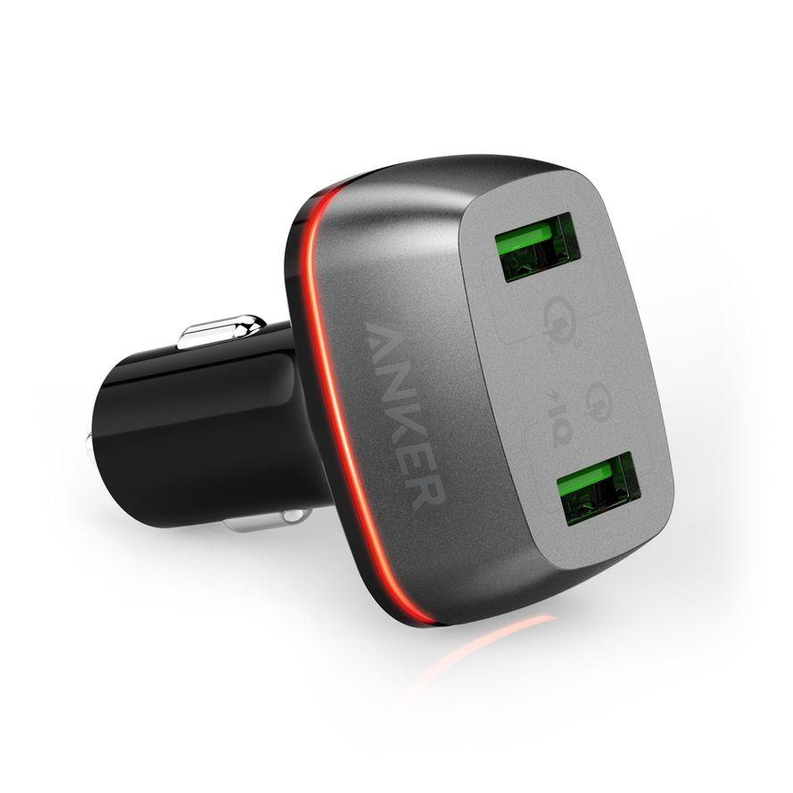 Anker PowerDrive+ 2 USB Autolaturi QC 3.0, musta