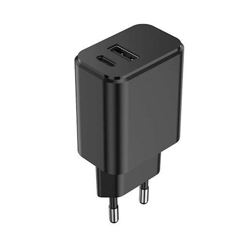 Setty USB-A + USB-C laturi 3A 20W - Musta
