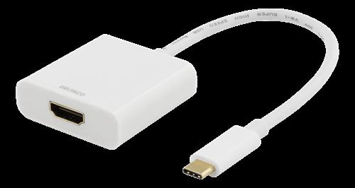DELTACO USB-C - HDMI-sovitin, 4096 x 2160 taajuudella 30 Hz, valkoinen